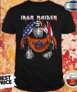 Skeleton Iron Maiden Auburn Logo American Flag Independence Day Shirt