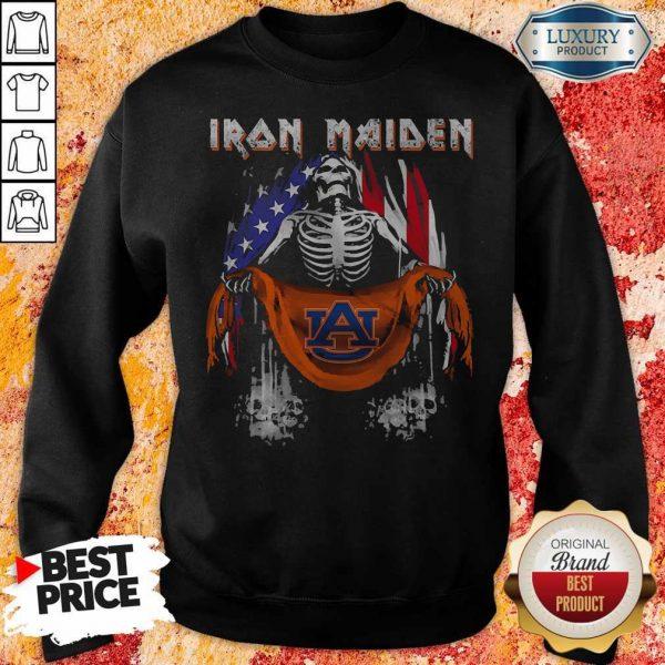 Skeleton Iron Maiden Auburn Logo American Flag Independence Day Sweatshirt