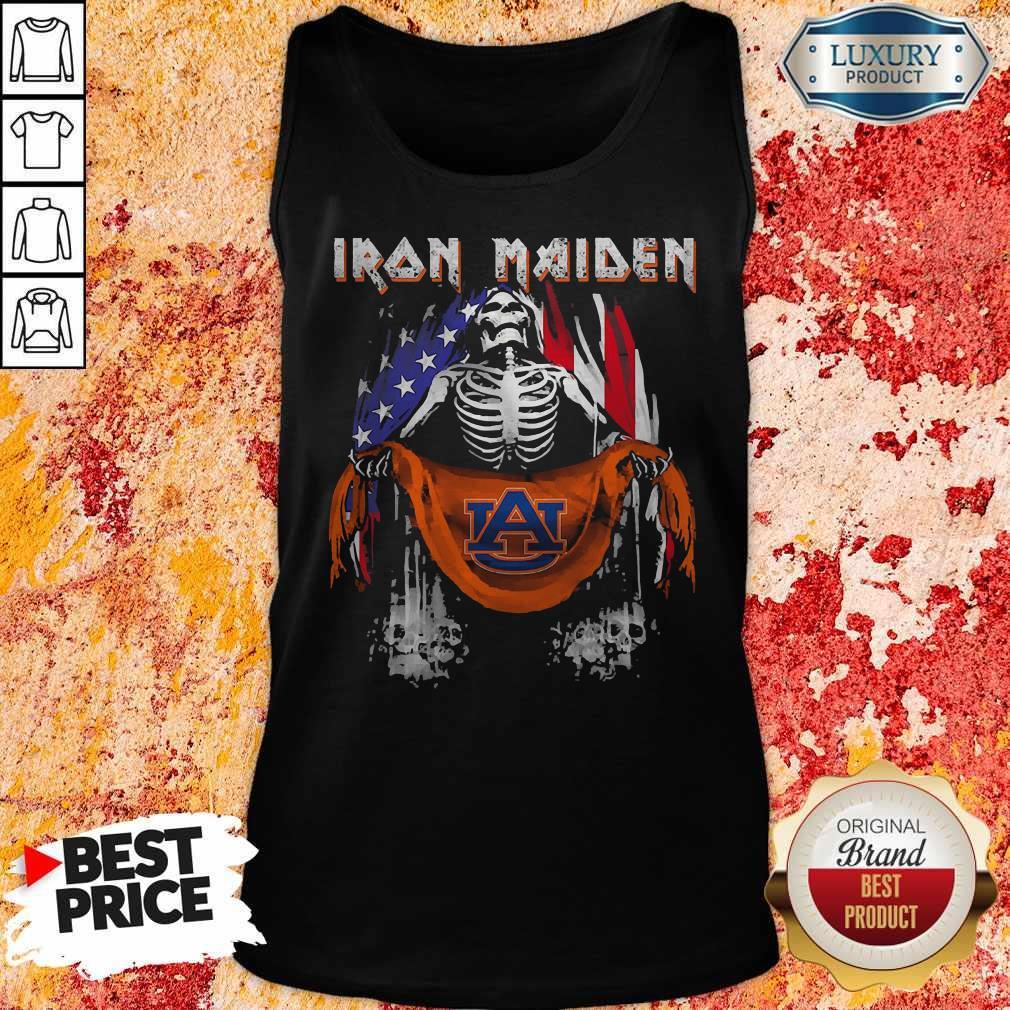 Skeleton Iron Maiden Auburn Logo American Flag Independence Day Tank Top