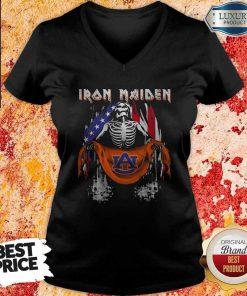 Skeleton Iron Maiden Auburn Logo American Flag Independence Day Skeleton Iron Maiden Auburn Logo American Flag Independence Day V- neck