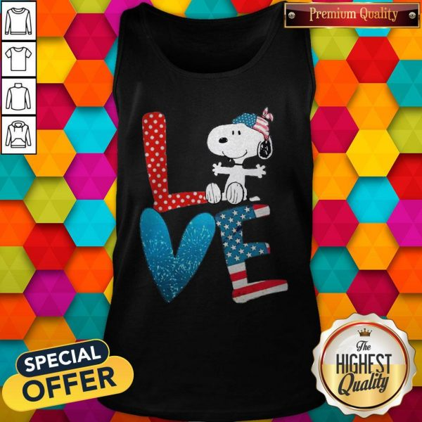 Snoopy Love American 4th Of July Tank Top