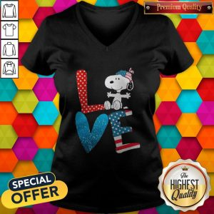 Snoopy Love American 4th Of July V- neck
