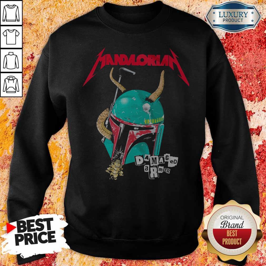 Star Wars Metallica Mandalorian Damaged Armor  Sweatshirt