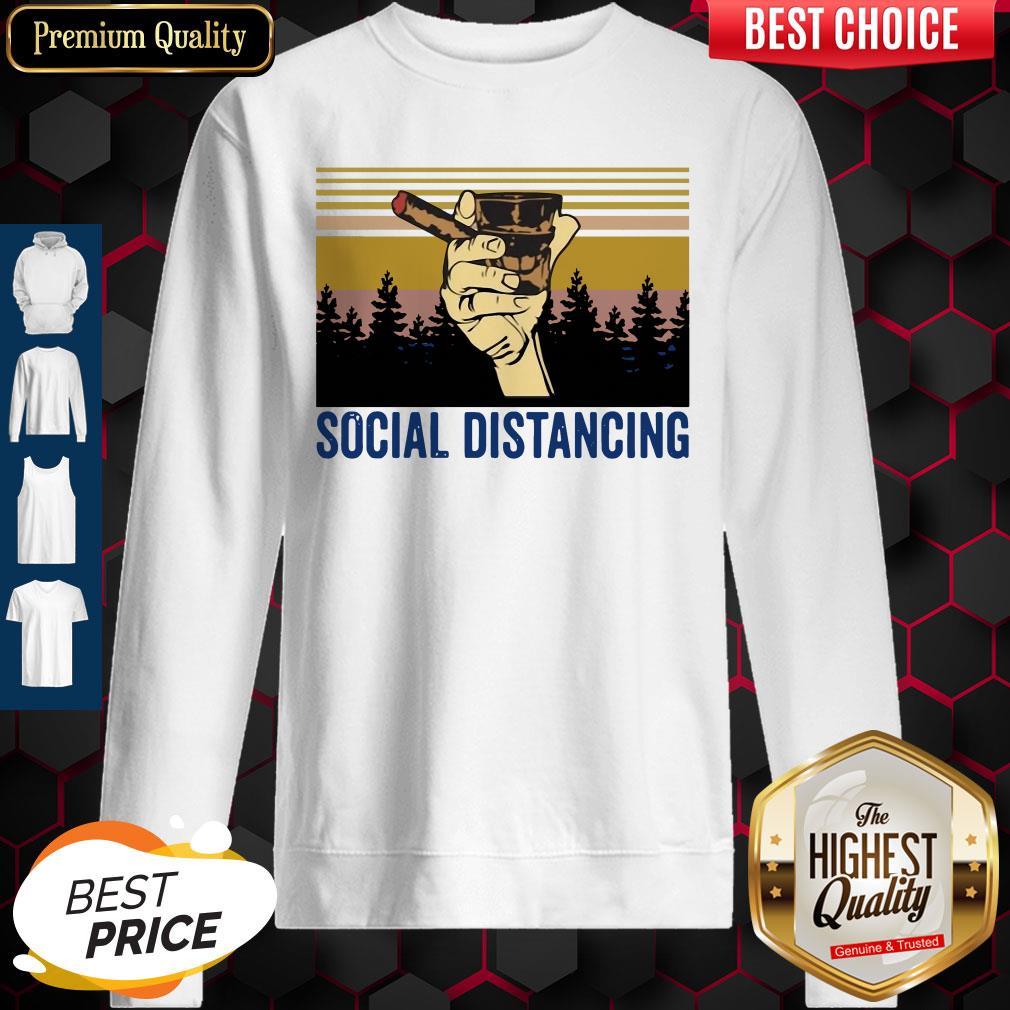 Cigar Social Distancing Vintage Sweatshirt