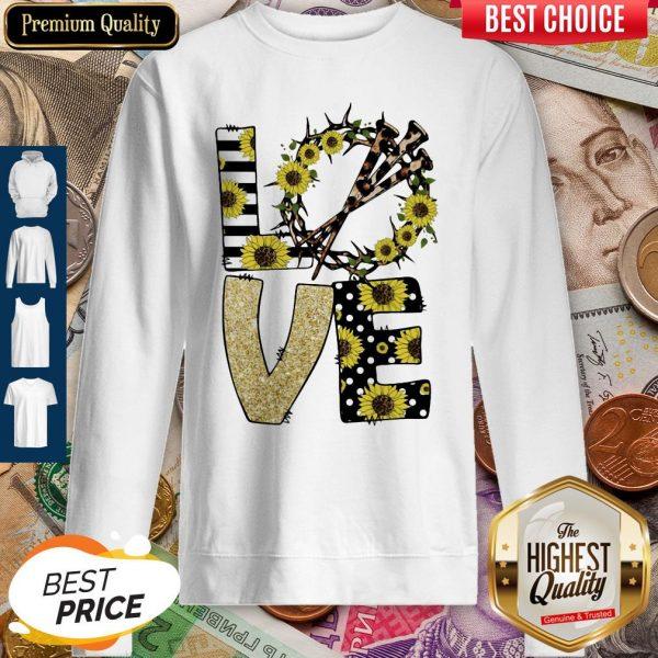 Nice Love God Sunflowers Leopard Diamond Sweatshirt