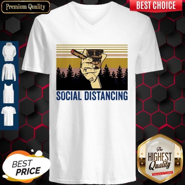 Cigar Social Distancing Vintage V- neck