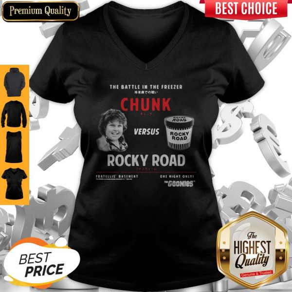 The Battle In The Freezer Chunk Versus Rocky Road Goonies V- neck