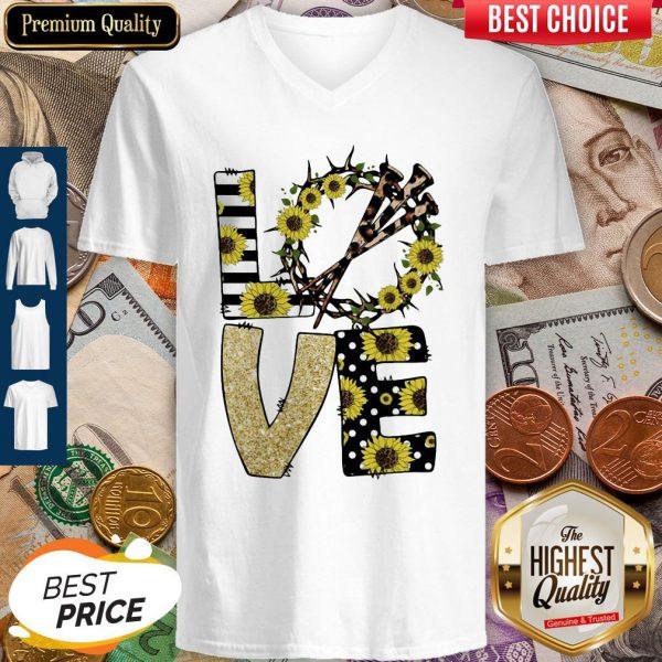 Nice Love God Sunflowers Leopard Diamond V-neck