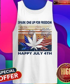 Weed Fireworks Spark One Up For Freedom Happy July 4th Independence Day Tank Top