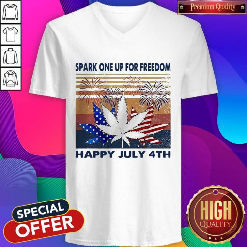 Weed Fireworks Spark One Up For Freedom Happy July 4th Independence Day Weed Fireworks Spark One Up For Freedom Happy July 4th Independence Day V- neck
