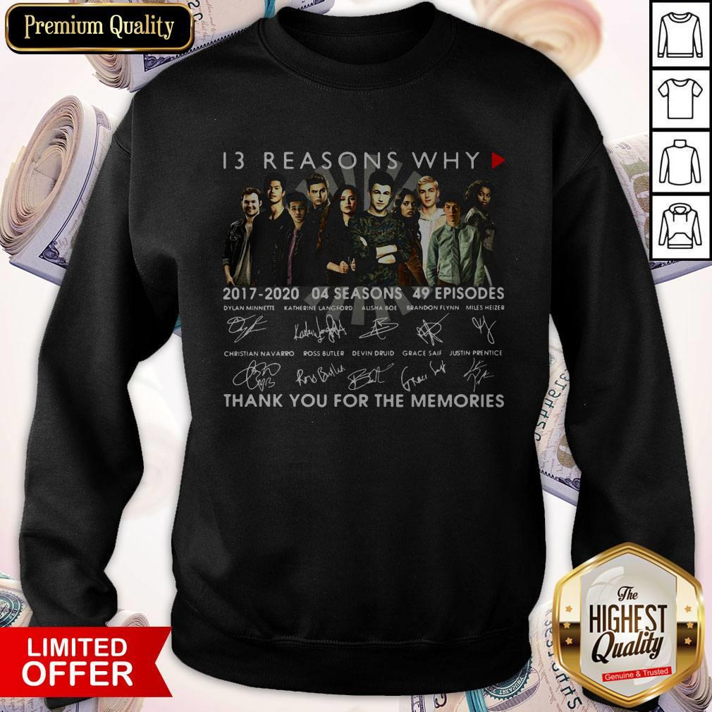 13 Reasons Why 2017 2020 04 Seasons 49 Episodes Thank You For The Memories Signatures Sweatshirt