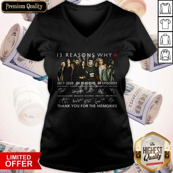 13 Reasons Why 2017 2020 04 Seasons 49 Episodes Thank You For The Memories Signatures V- neck