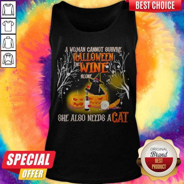 A Woman Cannot Survive Halloween Wine Alone She Also Needs A Cat Tank Top