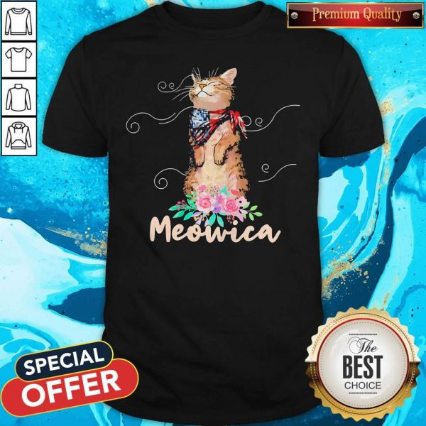Awesome Meowica Floral America Shirt