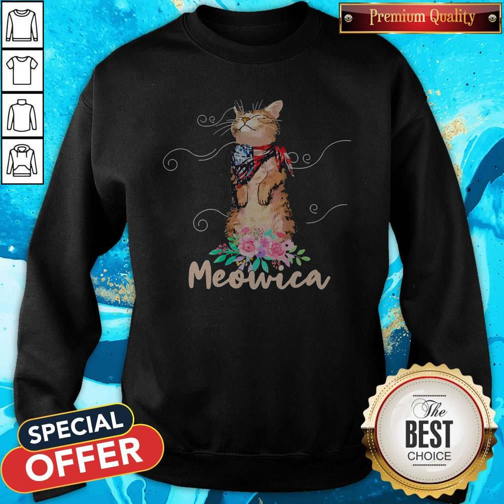 Awesome Meowica Floral America Sweatshirt