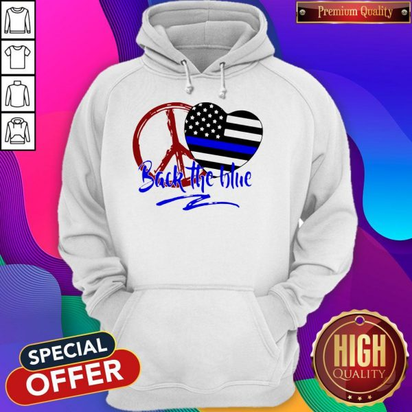 Back The Blue America Love Heart Independence Day Hoodiea