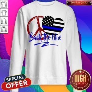 Back The Blue America Love Heart Independence Day Sweatshirt