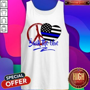 Back The Blue America Love Heart Independence Day Tank Top