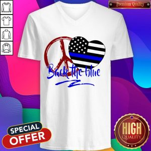 Back The Blue America Love Heart Independence Day V- neck