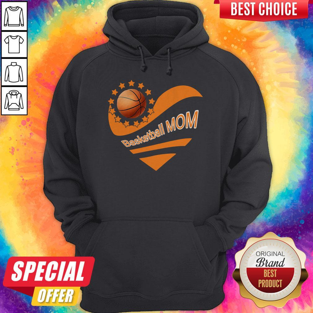 Basketball Mom Heart American Flag Independence Day Hoodie
