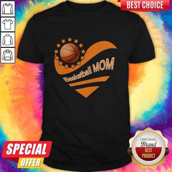 Basketball Mom Heart American Flag Independence Day Shirt