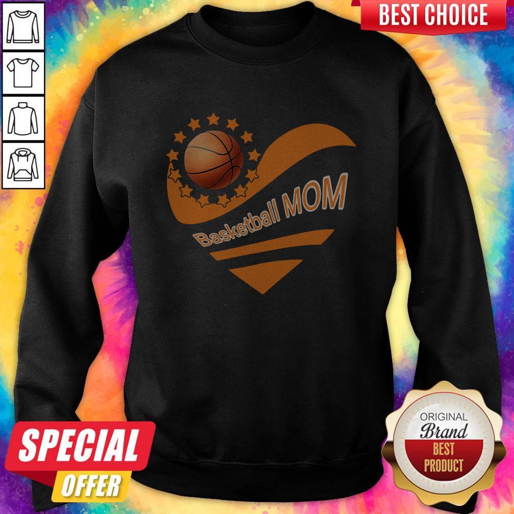 Basketball Mom Heart American Flag Independence Day Sweatshirt
