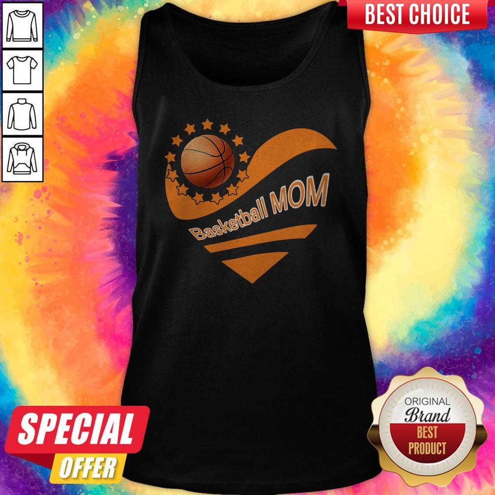 Basketball Mom Heart American Flag Independence Day Tank Top