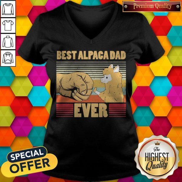 Best Alpaca Dad Ever Vintage Retro V- neck