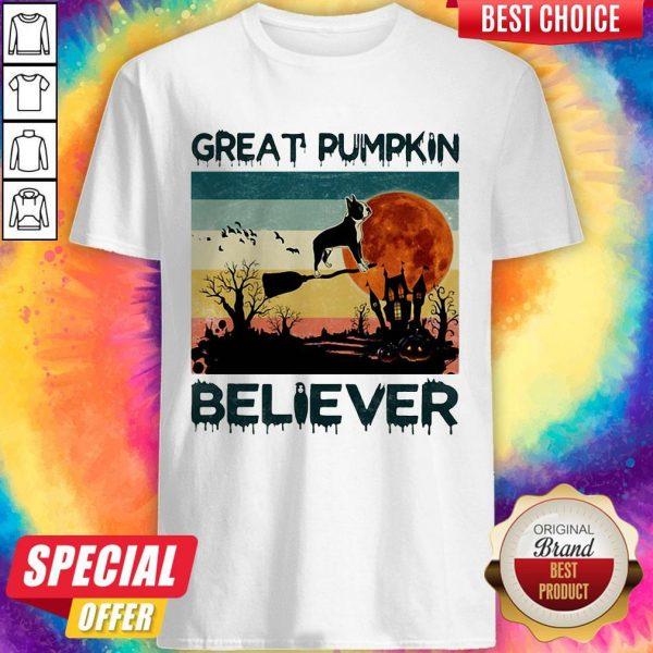 Boston Terrier Great Pumpkin Believer Vintage Shirt