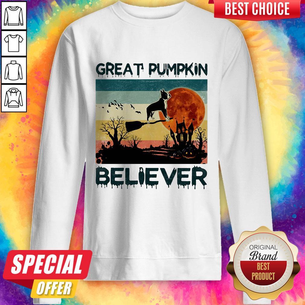 Boston Terrier Great Pumpkin Believer Vintage Sweatshirt