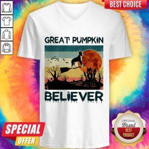 Boston Terrier Great Pumpkin Believer Vintage V- neck