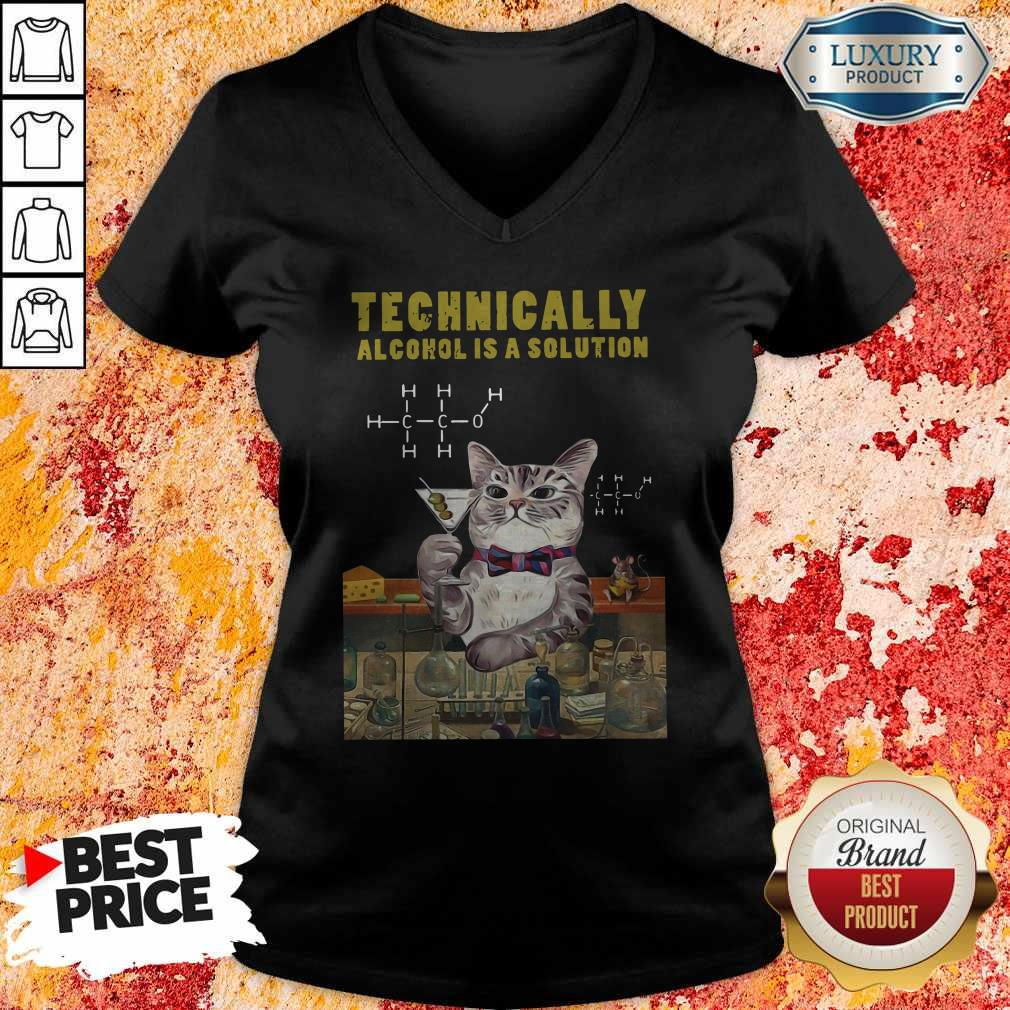 Cat Technically Alcohol Is A Solution V- neck