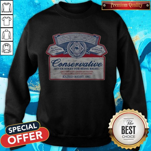 Conservative Never Sorry For Being Right Sweatshirt