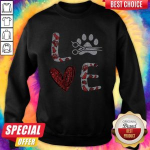 Diamond Hairstyle Dog Paw Love Sweatshirt