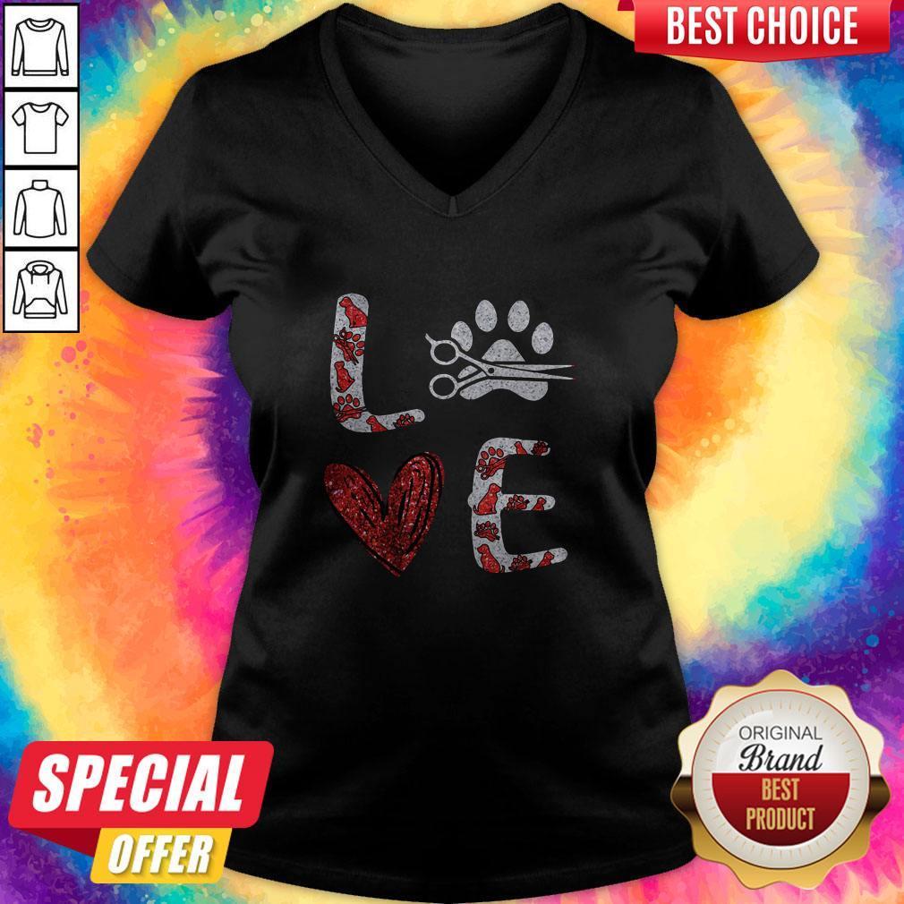 Diamond Hairstyle Dog Paw Love V- neck