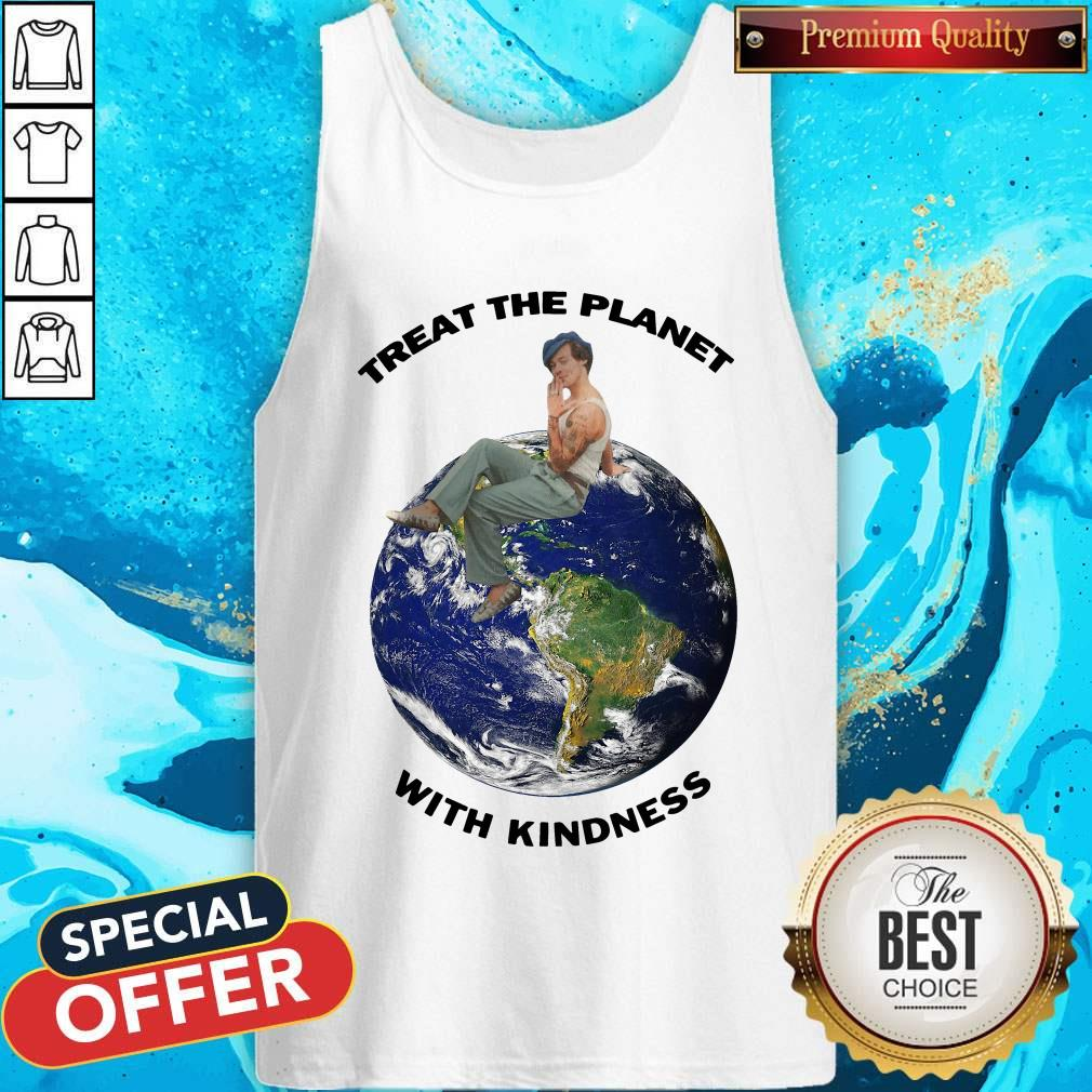 Funny Harry Styles Treat The Planet With Kindness Tank Top