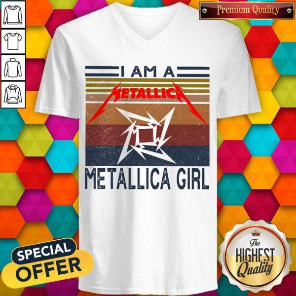 I Am A Metallica Girl Vintage V- neck