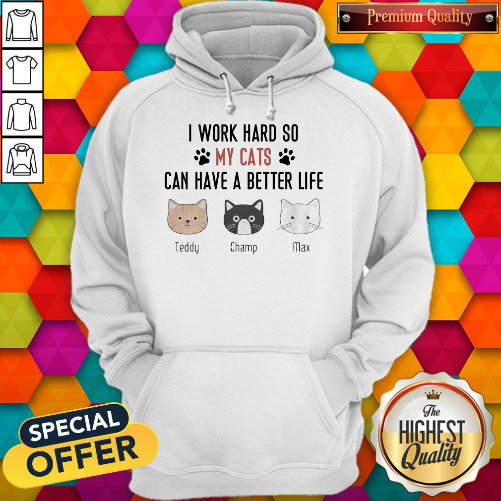 I Work Hard So My Cats Can Have A Better Life Teddy Champ Max Hoodie