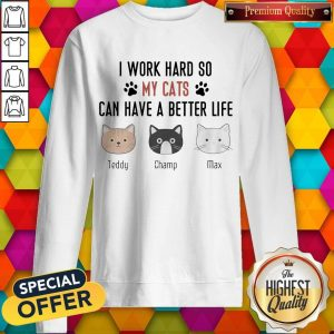 I Work Hard So My Cats Can Have A Better Life Teddy Champ Max Sweatshirt