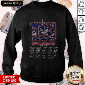 New York Giants 95th Anniversary 1925 2020 Thank You For The Memories Signatures Sweatshirt