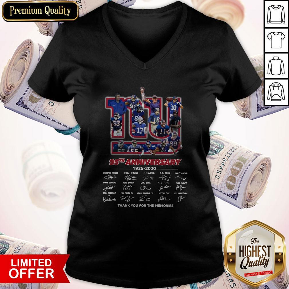 New York Giants 95th Anniversary 1925 2020 Thank You For The Memories Signatures V- neck