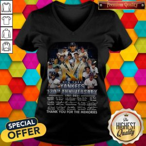 New York Yankees 120th Anniversary 1901 2021 Thank You For The Memories Signatures V- neck