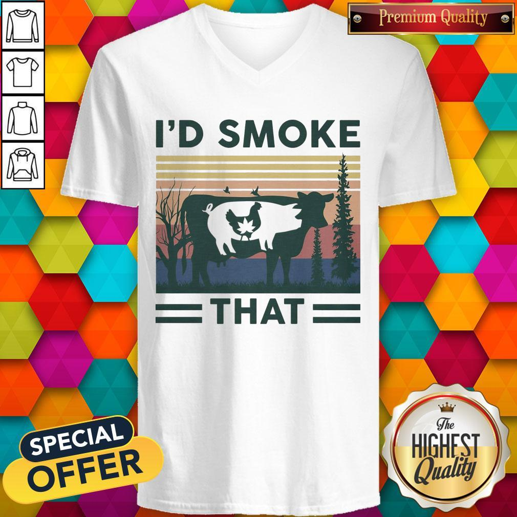 Nice I'd Smoke That Cow Pig Chicken Weed Vintage V- neck
