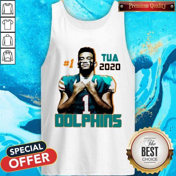 Official 1 Tua Tagovailoa 2020 Miami Dolphins Football Tank Top