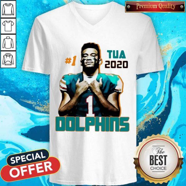 Official 1 Tua Tagovailoa 2020 Miami Dolphins Football V- neck