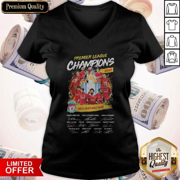 Premier League Champions 2020 You'll Never Walk Alone Players Signatures V- neck