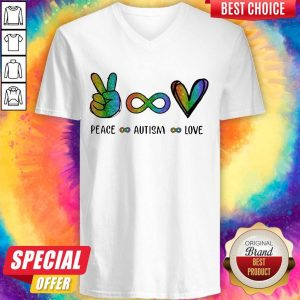 Pretty LGBT Peace Autism Love Diamond V- neck