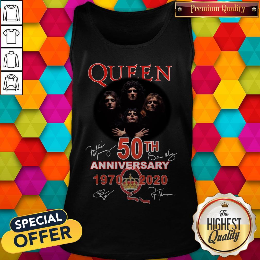 Queen 50th Anniversary 1970 2020 Signatures Tank Top