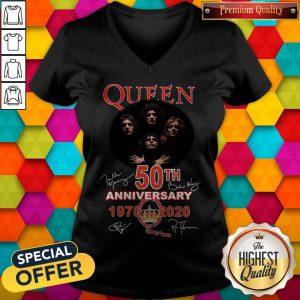 Queen 50th Anniversary 1970 2020 Signatures V- neck