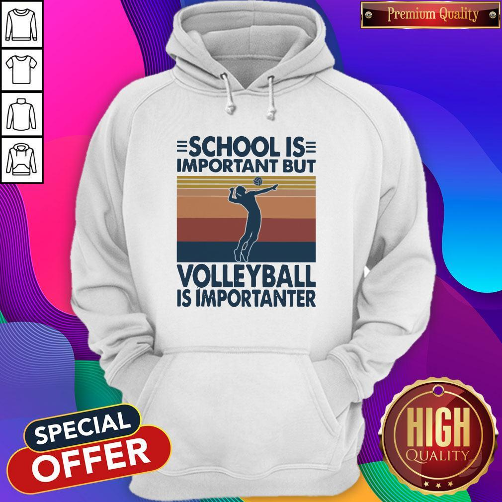 School Is Important But Volleyball Is Importanter Vintage Hoodiea